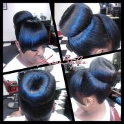 high donut bun with bang hair &