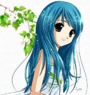 blue girl with black hair and green
