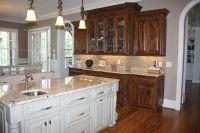 Knotty Alder cabinets stained dark, cream island | kitchen ...