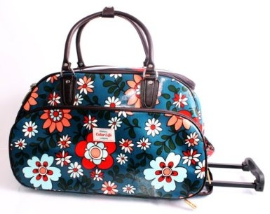 Funky Flower Print Blue Wheeled Travel Bag On Wheels