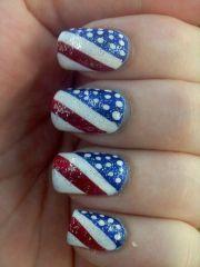 flag nail design short nails