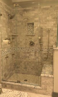 Stone Tile Walk-In Shower Design | Kenwood Kitchens in ...