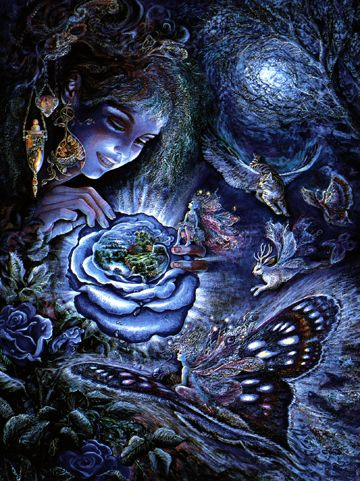 Fantasy Greeting Cards Josephine Wall Fantasy In Blue Birthday Greeting Card EYE CANDY