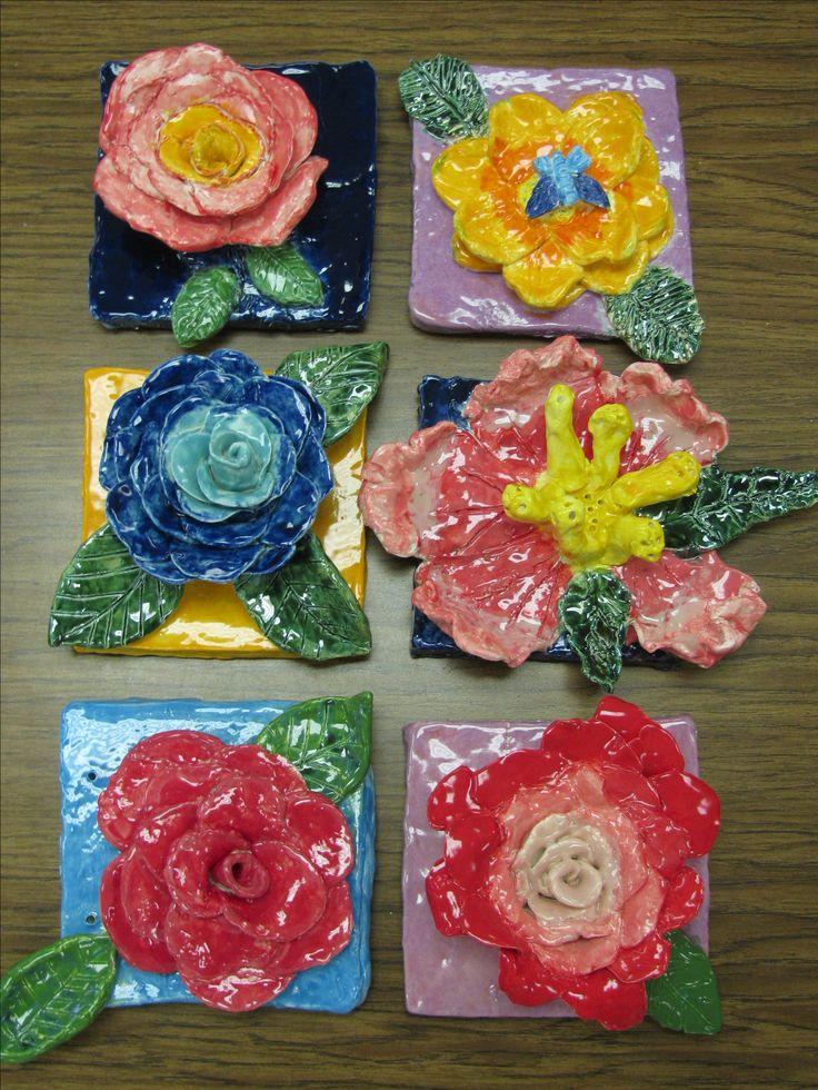 4th Grade Ceramic Flower Sculptures Glazed With Speedball