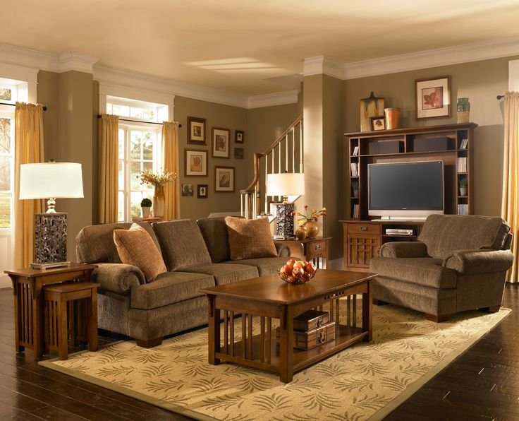 My dream living room I love mission style furniture