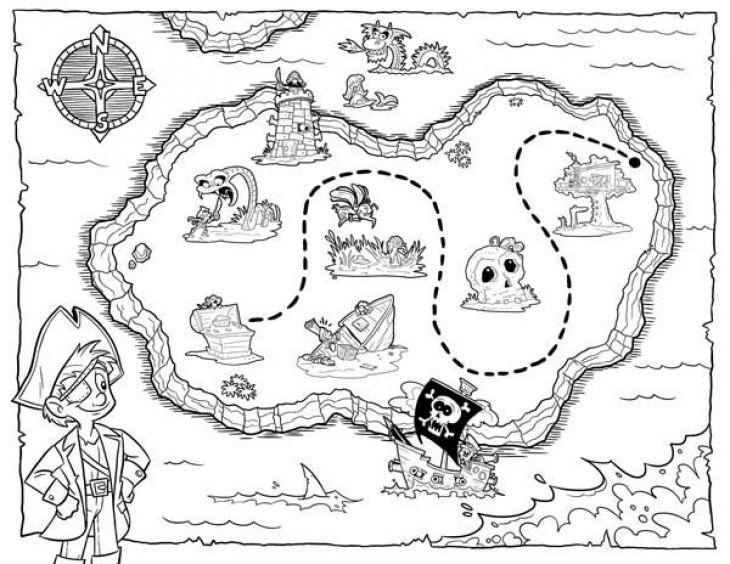 Lets hunt the treasure map coloring page for kids