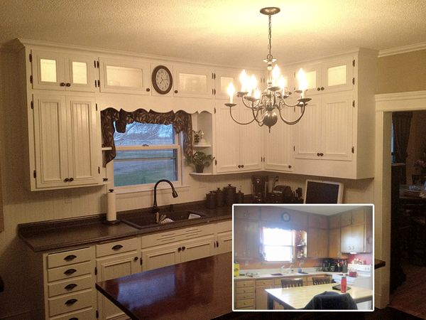 Kitchen makeover DIY before and after refinished