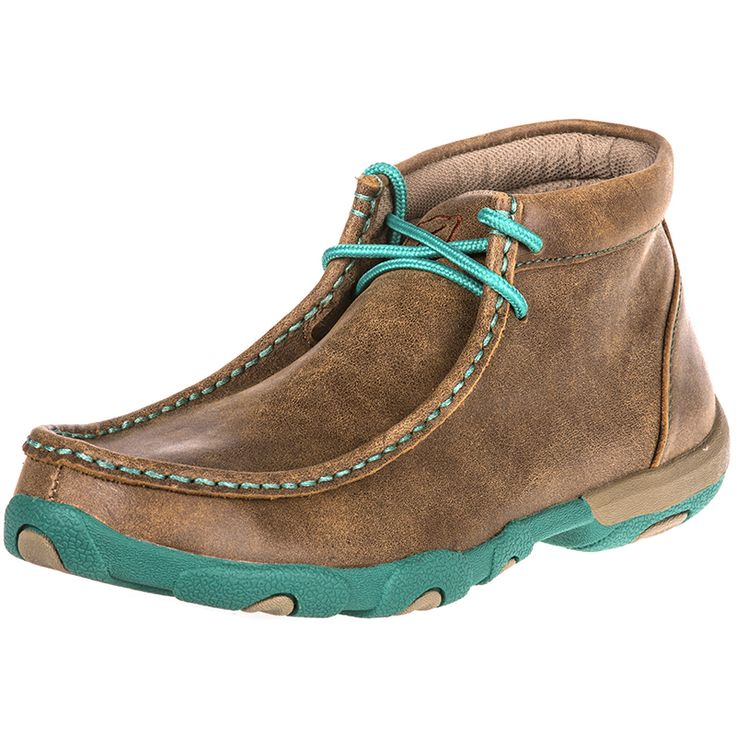 Womens Twisted X Driving Mocs Brown  Turquoise Shoes