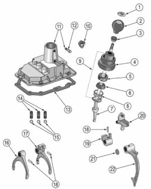 T176 and T177 Shift Cover Exploded View Diagram The Tremec T176 transmission was the optional