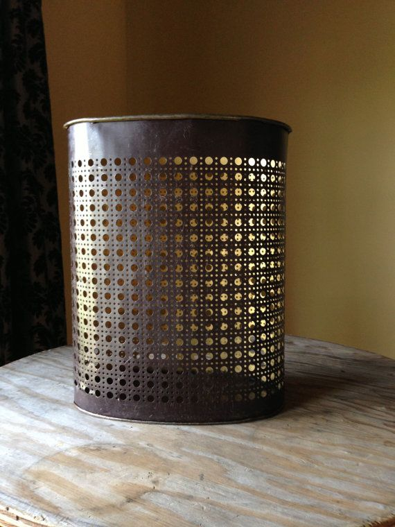 Vintage Trash Can Brown 1960s Metal Waste Basket Weibro Mid Century Punched Industrial Cool