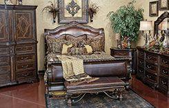 Valencia Sleigh Bedroom  Hemispheres Furniture Store located in Oklahoma City OK  Home