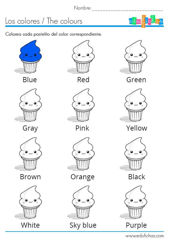 Los colores en inglés. Ficha coloreable http://www