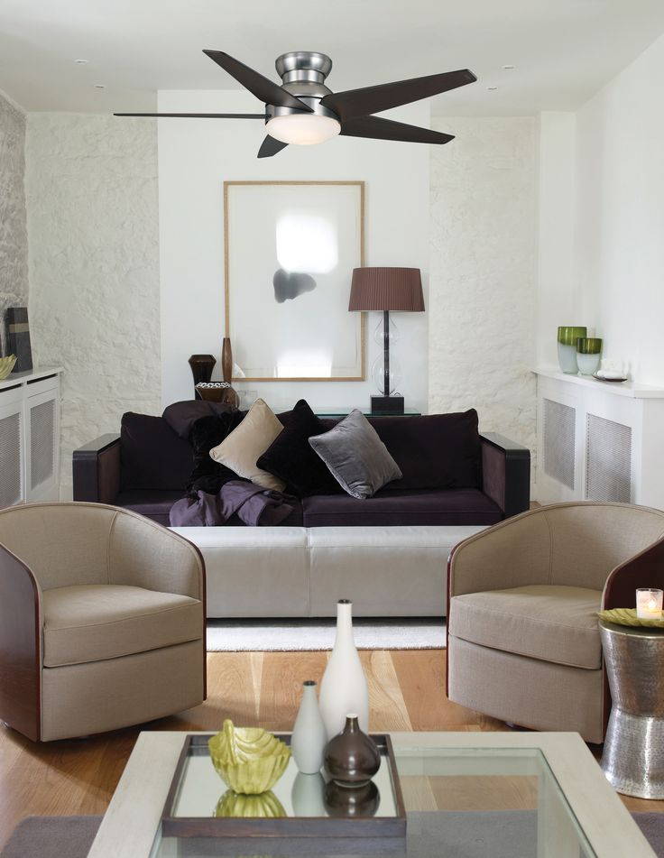 52 Brushed Nickel Isotope ceiling fan that has a