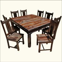 Large Rustic Furniture Square Solid Wood Dining Table ...