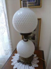 "Vintage Fenton Hobnail White Milk Glass Globe Lamp 21"" H 3 ..."