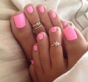 beautiful pink toenail polish color