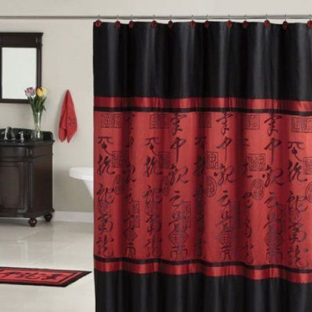 Amazoncom Red Black Asian Designed Bathroom Polyester Shower Curtain Home  Kitchen