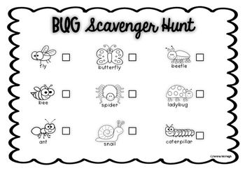Bugs Scavenger Hunt Worksheet!This is a great way to begin