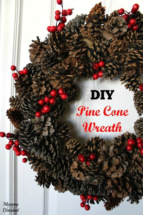 Are you looking for a new way to jazz up your front door This Pine Cone Wreath is so simple