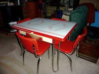 Retro 1950's Vintage chrome, Kitchen table set, 4 red ...