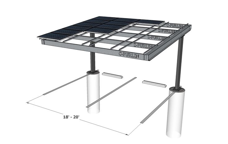 Carport Solar Structures Column Single Solar Carports