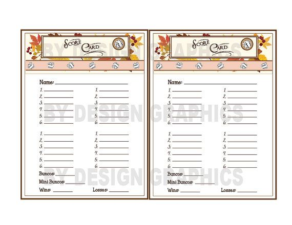 DIGITAL Bunco Set Fall Includes Score Card Low Table