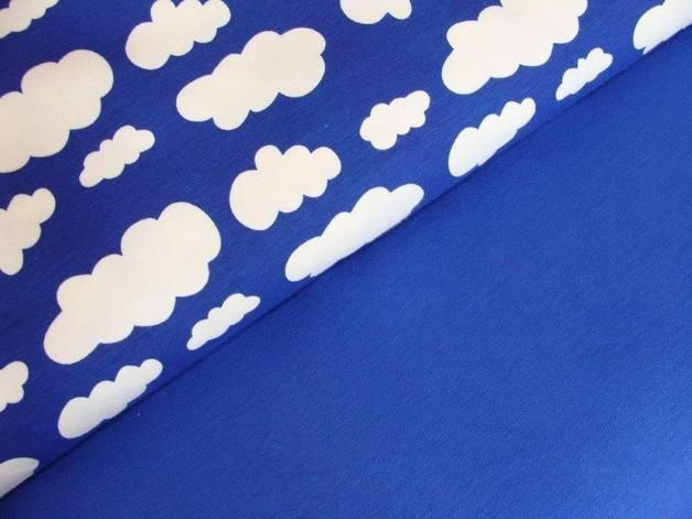 Jersey Fabric Set ♥ 1m ♥ Cloud Print ♥ Blue 15 9 La Tela