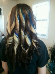 fabulous blonde and blue highlights