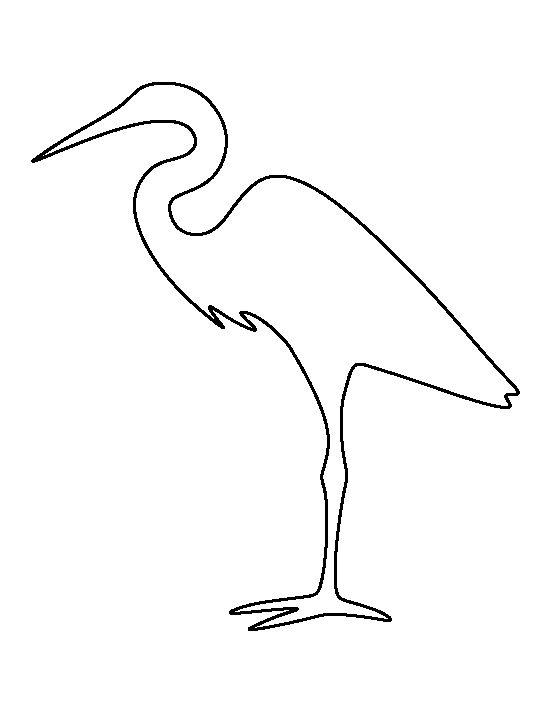 Egret pattern. Use the printable outline for crafts