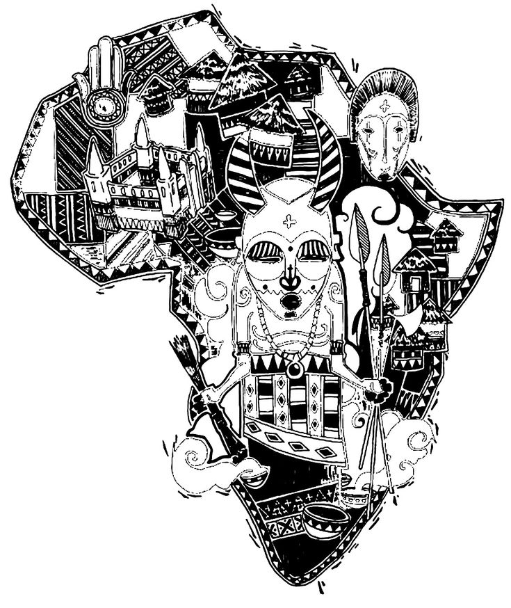 Free coloring page coloring-adult-africa-difficult-map