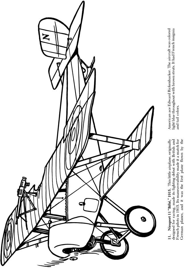 Airplanes of World War I Coloring Book Dover Publications