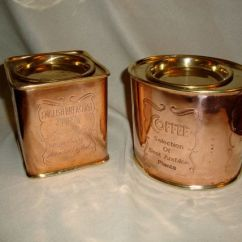 Kitchen Appliance Suite Small White Table Vintage Copper Brass Coffee And Tea Canisters Cannisters ...