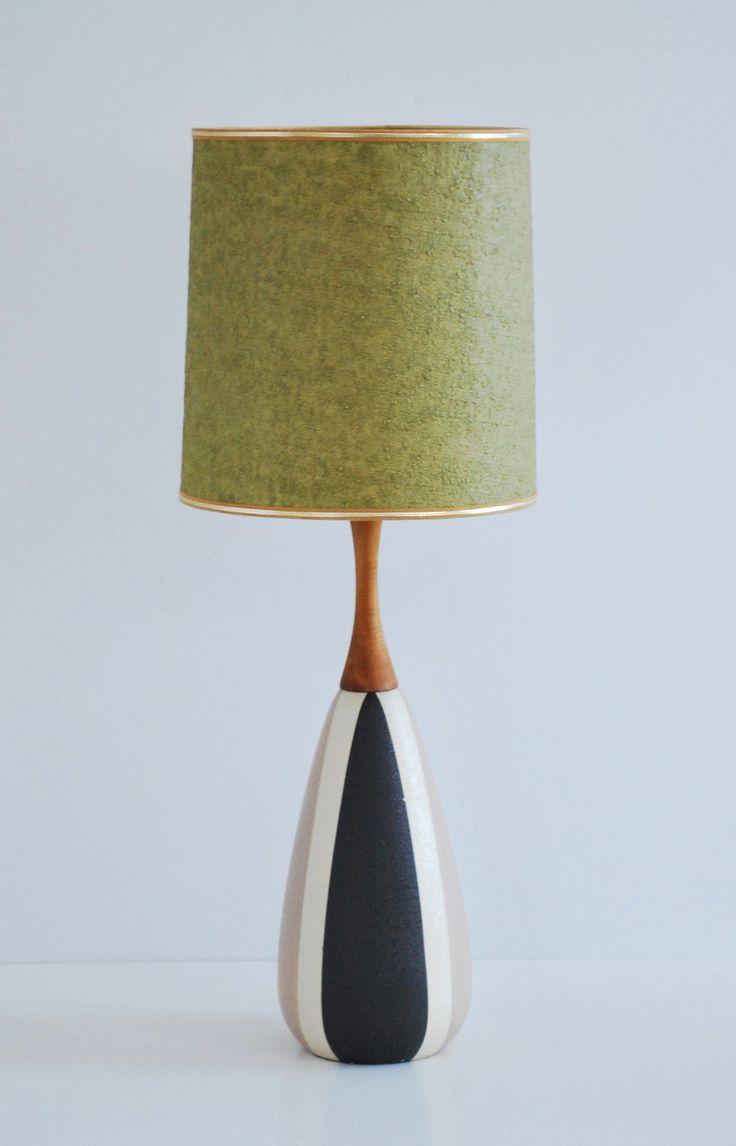 Mid Century Modern Vintage Danish Ceramic Teak Table Lamp