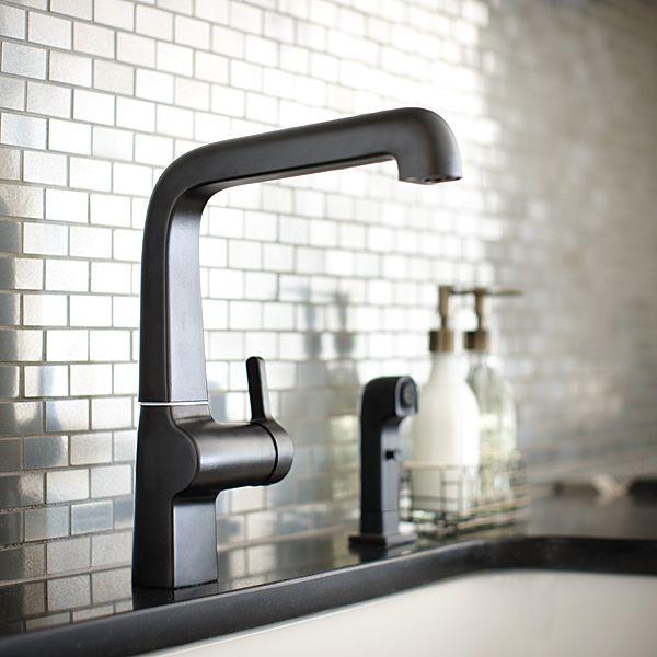 The Evoke Kitchen Faucet in Matte Black looks spectacular