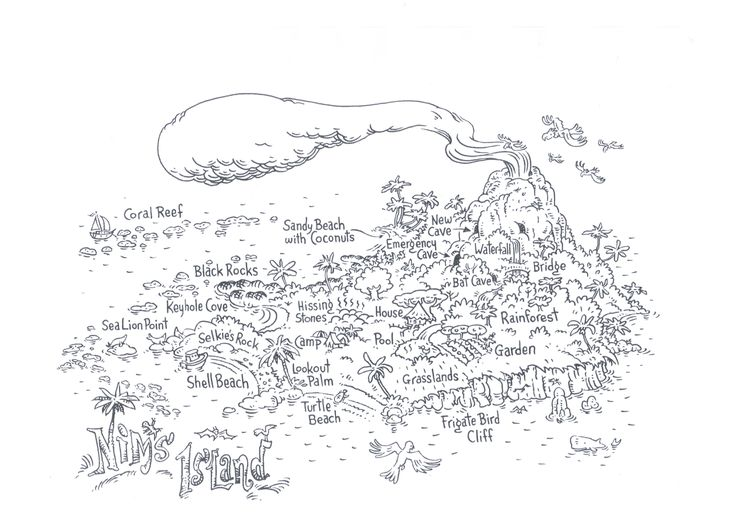 Free colouring sheet of Nim's Island map by Geoff Kelly