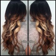 tri colored hair ombre with long