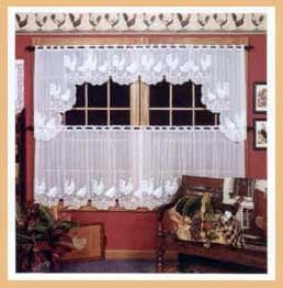 rooster kitchen decor ninja professional system heritage lace curtains - rooster- tier ecru, swag pair ...