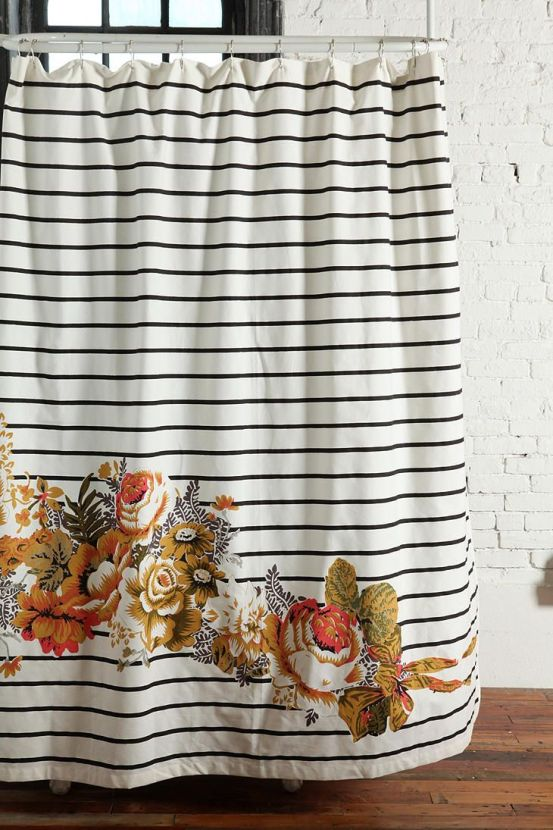 Striped Cabbage Rose Shower Curtain #UrbanOutfitters >> I love this, not sure what it is exactly, but I just love it!