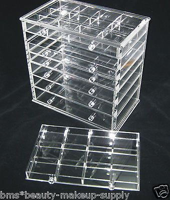 Clear acrylic 7drawer counter top cosmetic organizer