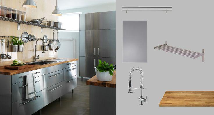 Ikea FAKTUM kitchen with RUBRIK stainless steel doorsdrawers and NUMERR solid oak worktop