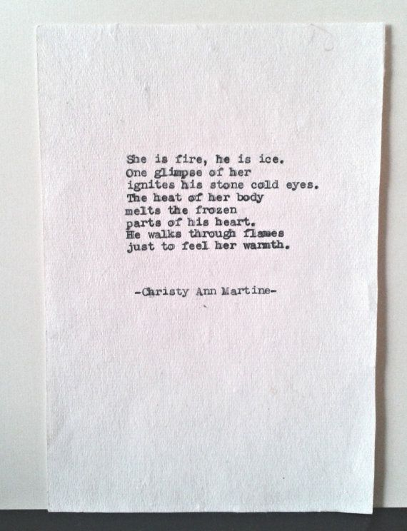 Love Poetry She Is Fire Poem Romantic Gift typed onto cotton paper by Christy Ann Martine