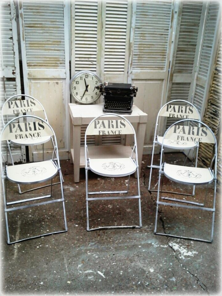 Repurposed metal and wood folding chairs painted with