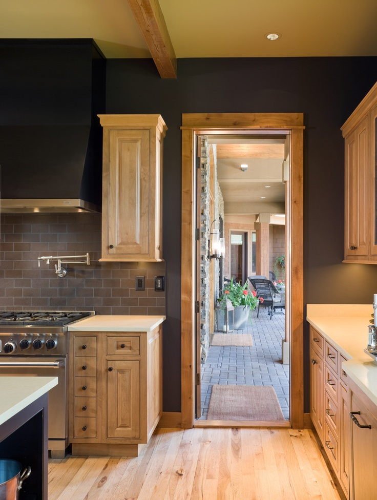 charcoal walls with natural maple cabinets Kitchen  home