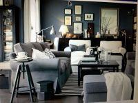 IKEA Living Room - light blue/grey - large ottoman   Home ...