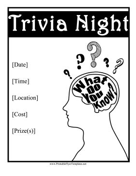 7 best images about Trivia flyer Ideas on Pinterest