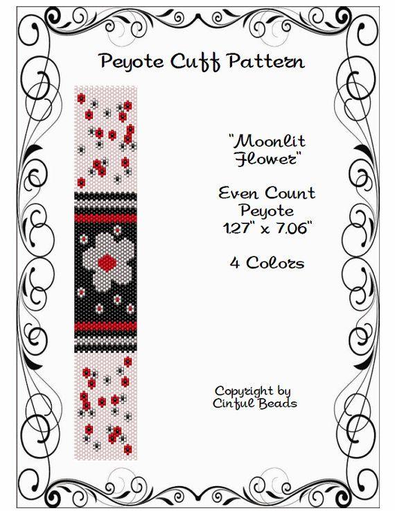 Peyote Bracelet Pattern, Flower Design using Miyuki 11/0