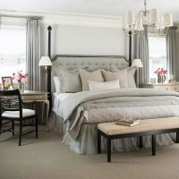 Gray tan white bedroom, end tables | Inspiring Ideas ...