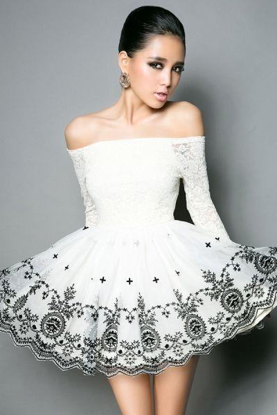 Open Shoulder Flower Embellished Mini Dress