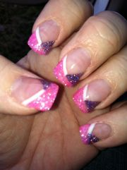 girly nails pink and purple glitter