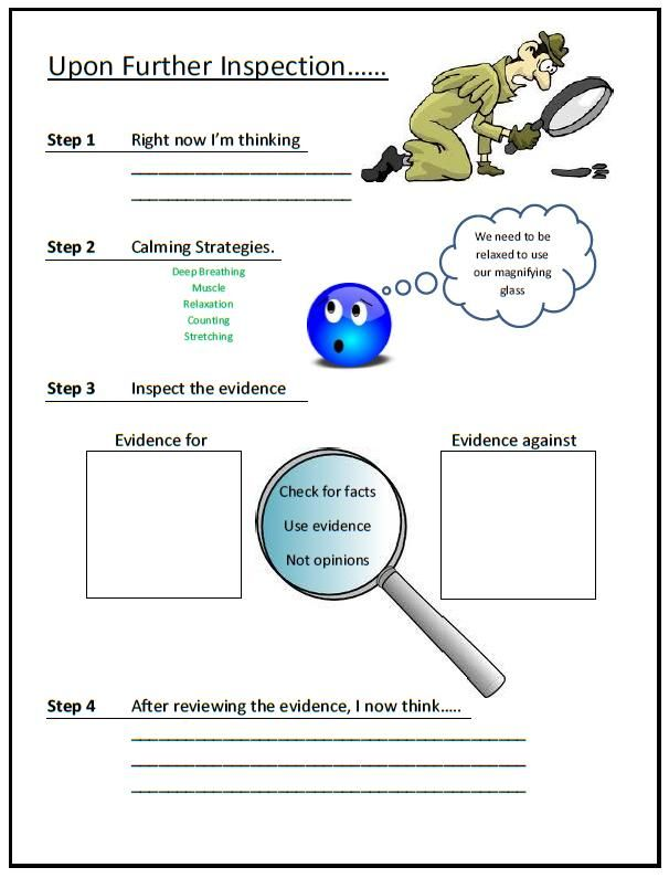 Worksheet For Checking Thoughts And Reframing As Needed